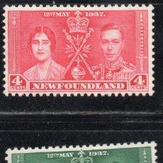 Sellos: NEWFOUNDLAND/1937/MH/SC#230-1/ EMISION DE CORONACION / REY EDUARDO VII & REINA ELIZABETH / REALEZA. Lote 215503688
