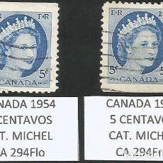 Sellos: CANADA 1954 - VARIANTES (VER IMAGEN) - 2 SELLOS USADOS. Lote 218004636