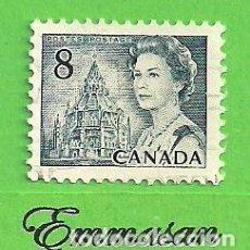 Sellos: CANADÁ - MICHEL 494AX - YVERT 470 - CENT. DE CANADÁ E ISABEL II - BIBLIOTECA DEL PARLAMENTO (1971). Lote 218006858