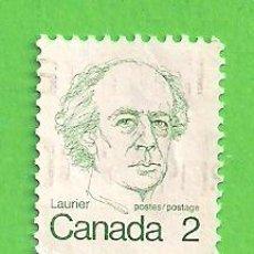 Sellos: CANADÁ - MICHEL 535CU- YVERT 509 - PRIMEROS MINISTROS - WILFRIED LAURIER. (1976).. Lote 218007345