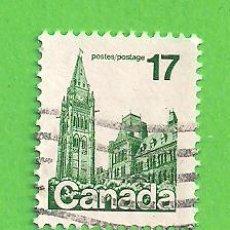 Sellos: CANADÁ - MICHEL 718A - YVERT 694 - CASAS DEL PARLAMENTO. (1979).. Lote 218008382