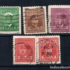 Francobolli: CANADA 1942 REY JORGE VI CON UNIFORME GUERRA MUNDIAL - LOTE DE 5 SELLOS ANTIGUOS. Lote 212832001