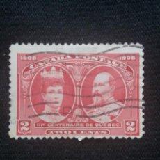 Sellos: CANADA, 2 CENTS, CENTENAIRE DE QUEBEC, AÑO 1908.. Lote 219642571
