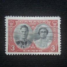 Sellos: CANADA, 3 CENTS, REY GEORGE VI. Y REINA ELIZABETH, AÑO 1939.. Lote 219643207