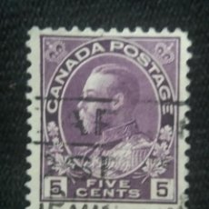 Sellos: CANADA, 5 CENTS, REY GEORGE V, AÑO 1910.. Lote 219645686