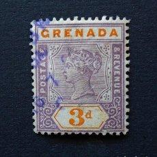 Sellos: GRANADA . SELLO 3 PENIQUES - PENCES 1895 . REINA VICTORIA . USADO. Lote 222306920