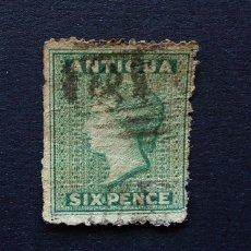 Sellos: ANTIGUA . SELLO 6 PENIQUES . PENCES 1863 . REINA VICTORIA . USADO. Lote 222307148