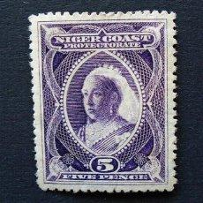 Sellos: PROTECTORADO DE LA COSTA DE NIGER . SELLO 5 PENIQUES - PENNY 1894 . REINA VICTORIA . NUEVO. Lote 222308033