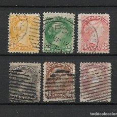Sellos: CANADA 1870-89 SC# 35/40 USADOS - 15/40. Lote 222371203