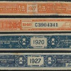 Sellos: CANADA FISCALES OTAWA, 4 TRIPS, PRECINTOS GARANTIA VINOS Y LICORES, 1920, 1927 Y 1940. Lote 226152465