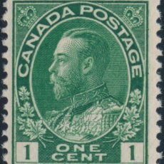Sellos: FRANCOBOLLO - CANADA - KING GEORGE V ADMIRAL (DARK GREEN) - 1 C - 1911 - USATO. Lote 236582870