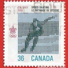 Sellos: CANADA. 1987. JUEGOS OLIMPICOS CALGARY. PATINAJE DE VELOCIDAD. Lote 241274260