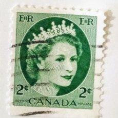 Sellos: SELLO DE CANADA 2 C - 1954 - ISABEL II - USADO SIN SEÑAL DE FIJASELLOS. Lote 241436350