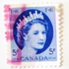 Sellos: SELLO DE CANADA 5 C - 1954 - ISABEL II - USADO SIN SEÑAL DE FIJASELLOS. Lote 241436420