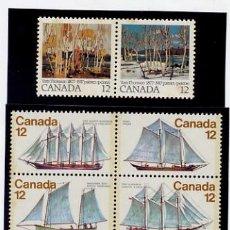 Sellos: CANADÁ - 1977 VELEROS - 1978 BARCOS ROMPEHIELOS - 1977 PINTURAS DE TOM THOMSON - SERIES NUEVAS. Lote 244468175