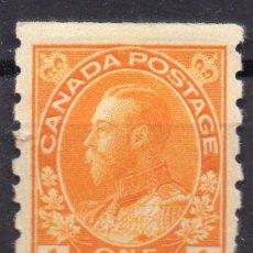 Sellos: CANADA/1922/MH/SC#105/ REY JORGE V / REALEZA / 1C AMARILLO NARANJA/ DENTADO CON DET. (L. DERECHO). Lote 252589370