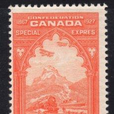 Sellos: CANADA/1927/MH/SC#E3/ TRANSPORTE DE CORREO / TRENES/ BARCOS/ CABALLOS/ 20C NARANJA. Lote 252589755