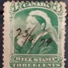 Sellos: CANADA, REINA ISABEL,BILL STAMPS. CANCELADO A MANO. 3Ç.1894. *.MH ( 21-309). Lote 252791005