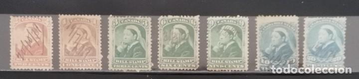 CANADA : AÑOS 1800 ´.REINA VICTORIA, BILL STAMPS.CANCELADOS A MANO ,*,MH ,# 1. (Sellos - Extranjero - América - Canadá)