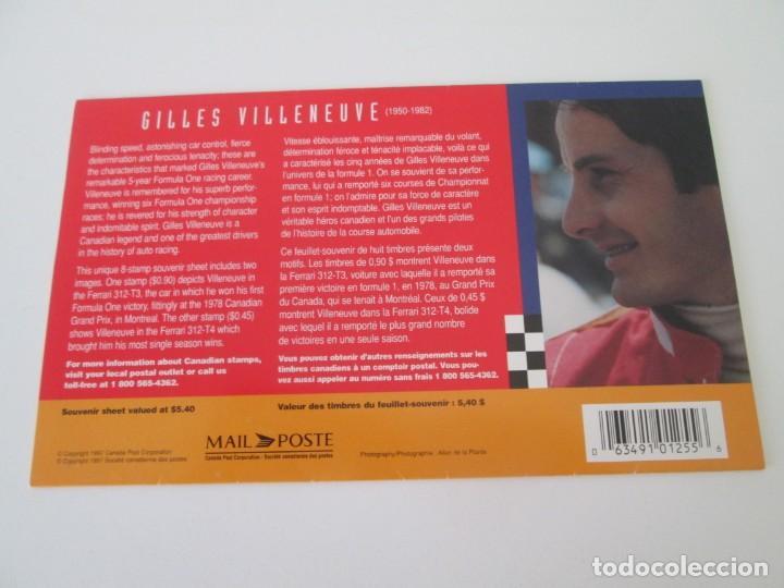 Sellos: ER * CANADA * HOJA BLOQUE RECUERDO DE GILLES VILLENEUVE * 1997 - Foto 2 - 261971020