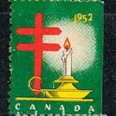 Sellos: CANADA, VIÑETA ANTITUBERCULOSIS DEL AÑO 1952, CANDIL CON LA VELA ENCENDIDA, NUEVO SIN GOMA. Lote 263342015