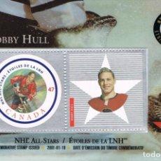 Sellos: [C0370] CANADÁ 2001, TARJETA EMISIÓN ESPECIAL ESTRELLAS NHL (N). Lote 277119828