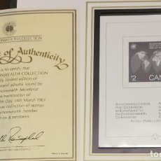 Sellos: O) 1983 CANADÁ, PRUEBA, MANCOMUNIDAD DÍA, SCT 977 $ 2, CERTIFICADO DE AUTENTICIDAD, XF. Lote 295534423