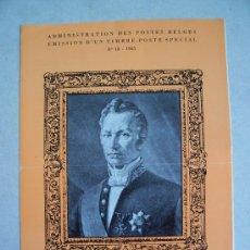 Sellos: CATALOGO DE CORREOS DE BELGICA CON MOTIVO DE EMISION DE SERIE: JOSEPH LEBEAU, 1965 NUM 18. Lote 6411764