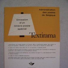Sellos: CATALOGO DE CORREOS DE BELGICA CON MOTIVO DE EMISION DE SERIE: TEXTIRAMA Y DIAMANTEXPO,ANOS 60 APROX. Lote 6411828