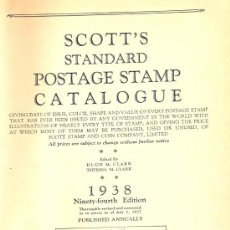 Sellos: STANDARD POSTAGE STAMP CATALOGUE OF THE SCOTT STAMP & COIN COMPAÑY. NEW YORK, 1938. . Lote 23498281