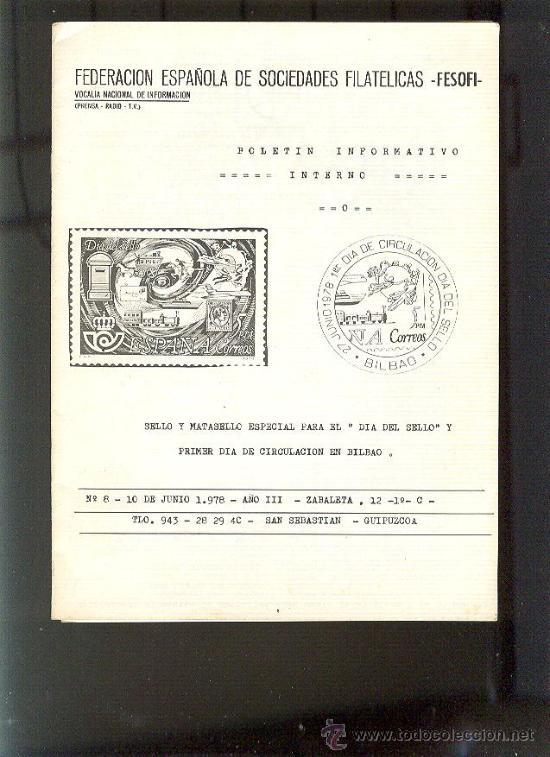 FESOFI BOLETÍN INFORMATIVO INTERNO 1978 22 PÁGINAS (Filatelia - Sellos - Catálogos y Libros)