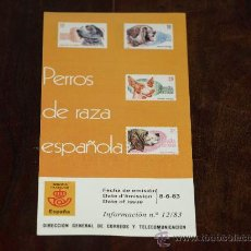 Sellos: FOLLETO SERVICIO FILATELICO- INFORMACIÓN Nº 12/83. 8-6-83. PERROS DE RAZA ESPAÑOLA.. Lote 27328751