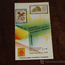 Sellos: FOLLETO SERVICIO FILATELICO- INFORMACIÓN Nº 1/86. 7-1-86. INGRESO DE ESPAÑA Y PORTUGAL EN LA COMUNID. Lote 27375560