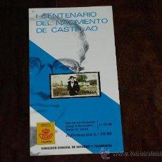Francobolli: FOLLETO SERVICIO FILATELICO- INFORMACIÓN Nº 24/86. 11-12-86. I CENTENARIO NACIMIENTO DE CASTELAO. Lote 27396361