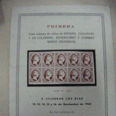 Sellos: ANTIGUO CATALOGO 1ª GRAN SUBASTA PLAZA MALLOR SELLOS ESPAÑA, COLONIAS Y EXCOLONIAS, EXTRANJERO(CE12). Lote 29838990