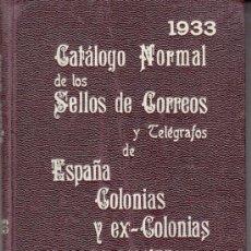 Sellos: .CATALOGO NORMAL SELLOS CORREOS Y TELEGRAFOS ESPAÑA COLONIAS Y EX COLONIAS. GALVEZ 1933. Lote 31208813