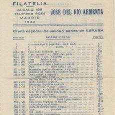 Sellos: FILATELIA JOSE DEL RIO ARMENTA OFERTA ESPECIAL DE SELLOS ESPAÑA 1942. Lote 31659812