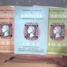Sellos: LOTE 3 CATALOGOS UNIFICADOS DE ESPAÑA Y DEPENCIAS POSTALES AÑOS 1965 - 66 - 67 - EDIFIL. Lote 34280078