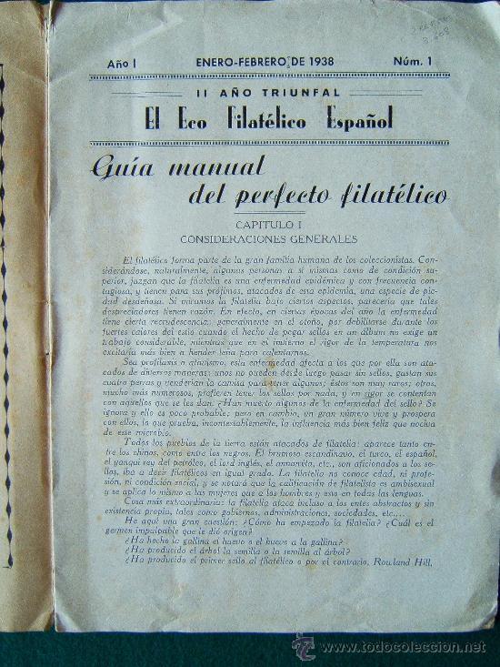 Sellos: EL ECO FILATELICO ESPAÑOL - 2 REVISTAS - Nº 1 Y Nº 2 - LA CORUÑA - 1938 - II AÑO TRIUNFAL - Foto 4 - 35204217