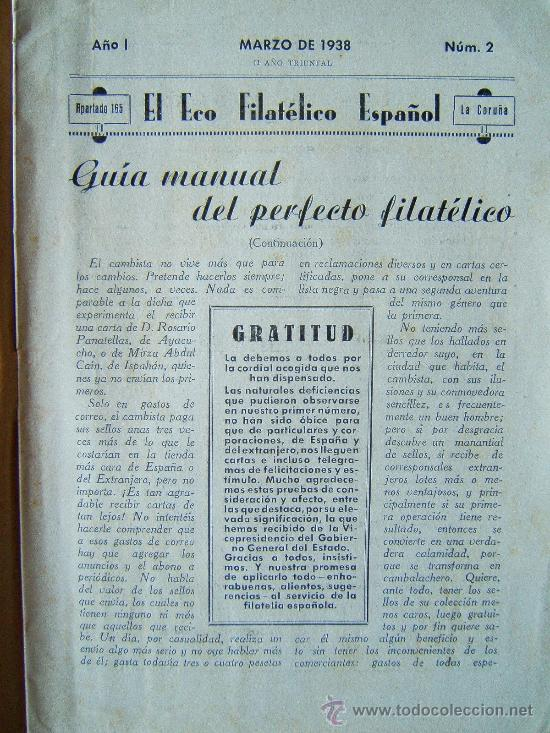 Sellos: EL ECO FILATELICO ESPAÑOL - 2 REVISTAS - Nº 1 Y Nº 2 - LA CORUÑA - 1938 - II AÑO TRIUNFAL - Foto 10 - 35204217