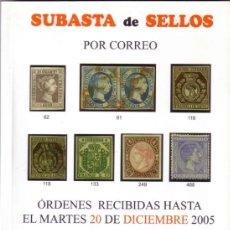 Sellos: ESPAÑA. CATÁLOGO SUBASTA * JR * (20 DIC 2005). TODAS LAS FOTOS A COLOR (51 PAGS.). NUEVO.. Lote 38889610