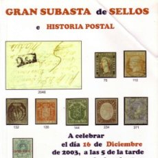 Sellos: ESPAÑA. CATÁLOGO SUBASTA * JR * (16 DIC 2003). COMO NUEVO.. Lote 38889929