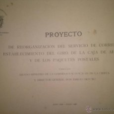 Sellos: POYECTO DE REORGANIZACION DEL SERVICIO DE CORREOS MADRID 1909. Lote 39637702
