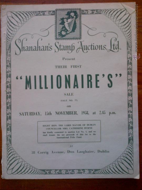 MILLIONAIRE'S, REVISTA IRLANDESA DE SUBASTAS DE SELLOS DE 1958. INCLUYE HOJA DE PEDIDOS. MUY DIFÍCIL (Filatelia - Sellos - Catálogos y Libros)