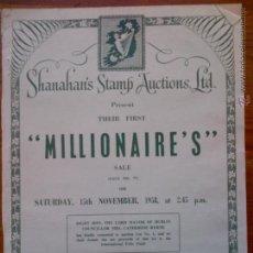 Sellos: MILLIONAIRE'S, REVISTA IRLANDESA DE SUBASTAS DE SELLOS DE 1958. INCLUYE HOJA DE PEDIDOS. MUY DIFÍCIL. Lote 44645701