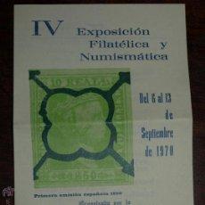 Sellos: FOLLETO IV EXPOSICION FILATELICA Y NUMISMATICA SEGORBE 1970. ASOCIACION FILAFELICA SEGORBINA. FOTOS.. Lote 46599633