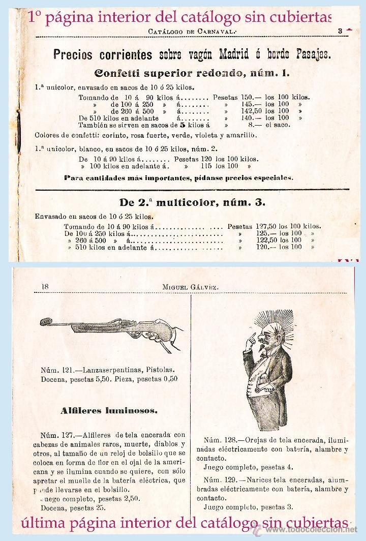 1900.-CATALOGO DE COTILLONES,CONFETI Y OTROS DE CARNAVAL AL MAYOR Y FÁBRICA.DE MIGUEL GALVEZ. 18 PAG (Filatelia - Sellos - Catálogos y Libros)