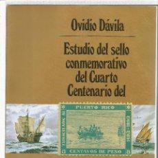 Francobolli: ESTUDIO DEL SELLO CONMEMORATIVO DEL CUARTO CENTENARIO DEL DESCUBRIMIENTO DE PUERTO RICO DE OVIDIO DA. Lote 52373279