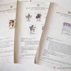 Sellos: HOJAS DE LA COMISION DE PROGRAMACION DE EMISIONES FILATELICAS - SELLOS MILITARES - LENGUA CASTELLANA. Lote 54071005