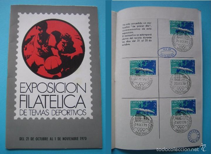 EXPOSICION FILATELICA DE TEMAS DEPORTIVOS - SABADELL (BARCELONA) 1970 - 5 MATASELLOS ESPECIALES VER (Filatelia - Sellos - Catálogos y Libros)